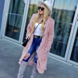 Pink PLush Sofy Blush Faux Fur Coat Jacket